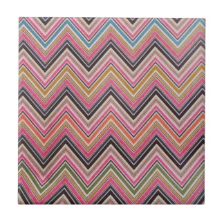 Aztec Pink Red Green Chevron Girly Pattern Ceramic Tile