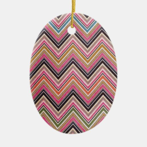 Aztec Pink Red Green Chevron Girly Pattern Double-Sided Oval Ceramic Christmas Ornament