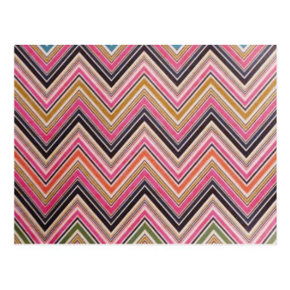 Aztec Pink Red Green Chevron Girly Pattern Postcard