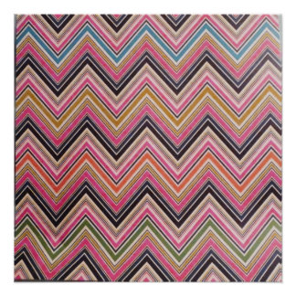 Aztec Pink Red Green Chevron Girly Pattern Poster