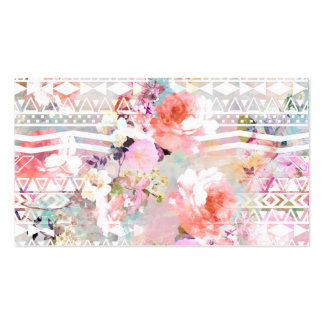 Aztec Pink Teal Watercolor Chic Floral Pattern Business Card