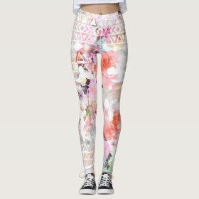 Aztec Pink Teal Watercolor Chic Floral Pattern Leggings