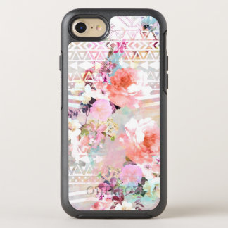 Aztec pink teal watercolor chic floral pattern OtterBox symmetry iPhone 7 case