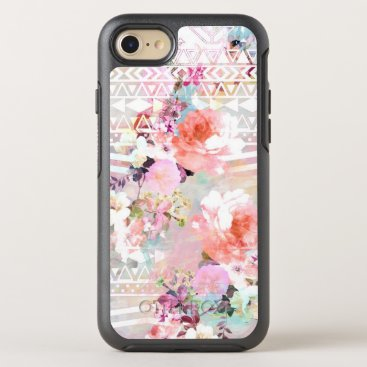 Aztec Themed Aztec pink teal watercolor chic floral pattern OtterBox symmetry iPhone 7 case