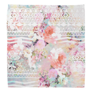 Aztec Pink Teal Watercolor Chic Floral Pattern Bandana
