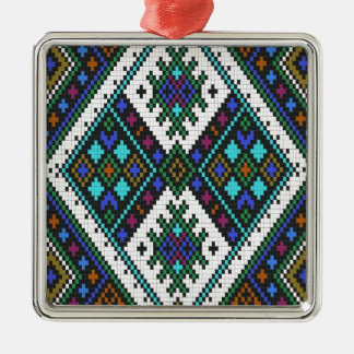 Aztec Pixel Pattern. A Must have trend. Square Metal Christmas Ornament