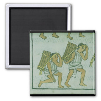 Aztec porters, from the 'Florentine Codex' 2 Inch Square Magnet