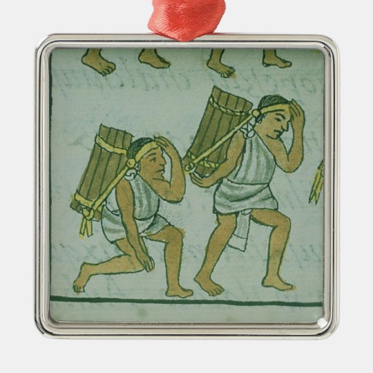 Aztec porters, from the 'Florentine Codex' Metal Ornament