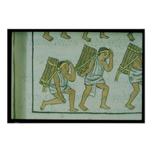 Aztec porters, from the 'Florentine Codex' Poster