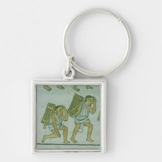 Aztec porters, from the 'Florentine Codex' Silver-Colored Square Keychain