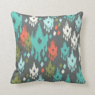 Aztec Themed Aztec Print Blue Grey Red Modern Pillow