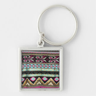 Aztec Print in Funky Colors Keychain