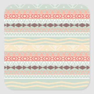 Aztec Retro Pink Brown Teal Geo Pattern Square Sticker