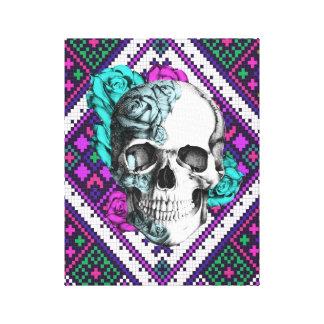 Aztec Rose skull on pixel pattern canvas art. Gallery Wrap Canvas
