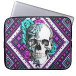 Aztec Rose skull on pixel pattern Laptop sleeve.