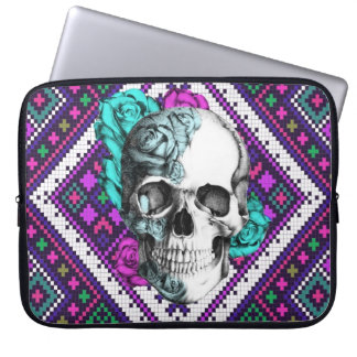 Aztec Rose skull on pixel pattern Laptop sleeve. Computer Sleeve