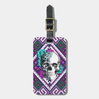 Aztec Rose skull on tribal pixel pattern. Bag Tag