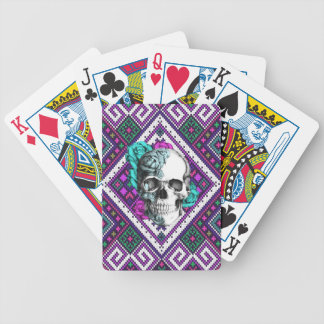 Aztec Rose skull on tribal pixel pattern. Bicycle Playing Cards