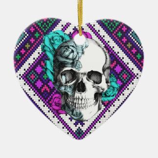 Aztec Rose skull on tribal pixel pattern. Ceramic Ornament