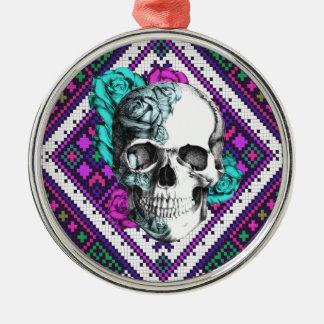 Aztec Rose skull on tribal pixel pattern. Metal Ornament