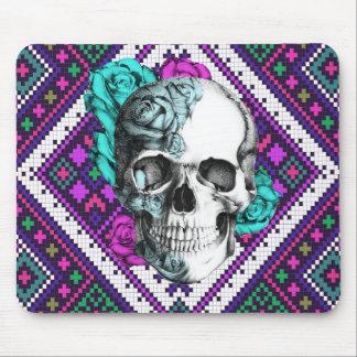 Aztec Rose skull on tribal pixel pattern. Mouse Pad