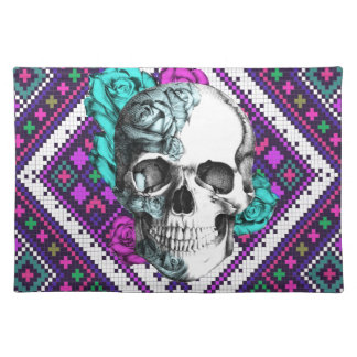 Aztec Rose skull on tribal pixel pattern. Placemat