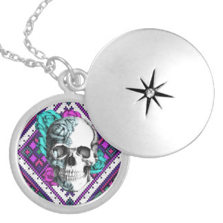 Aztec Rose skull on tribal pixel pattern. Silver Plated Necklace