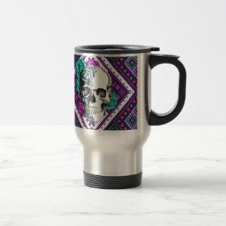 Aztec Rose skull on tribal pixel pattern. Travel Mug