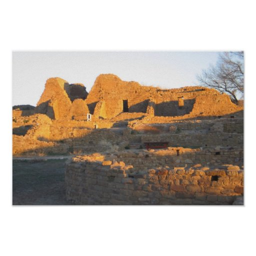 Aztec ruins in the evening with shadow in New Mexi Poster