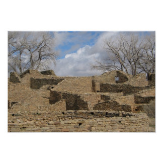 aztec ruins with windows and doorways poster