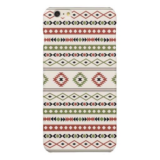 Aztec Rust Green Black Cream Mixed Motifs Pattern Glossy iPhone 6 Plus Case
