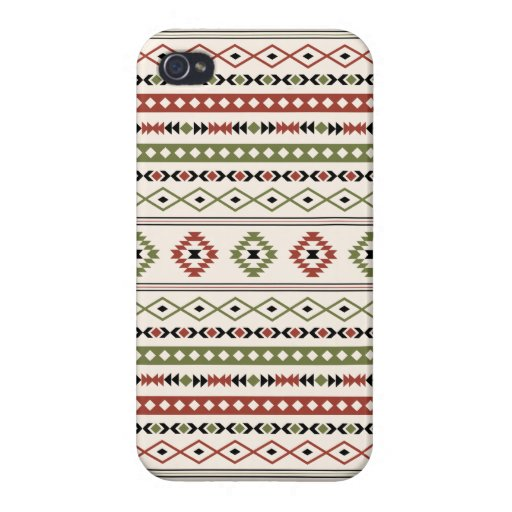 Aztec Rust Green Black Cream Mixed Motifs Pattern Case For iPhone 4