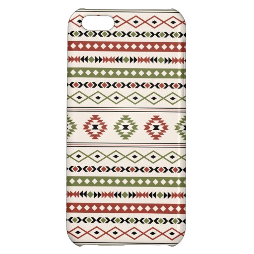 Aztec Rust Green Black Cream Mixed Motifs Pattern Case For iPhone 5C