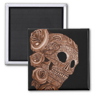 aztec skull RITON TATTOO 2 Inch Square Magnet