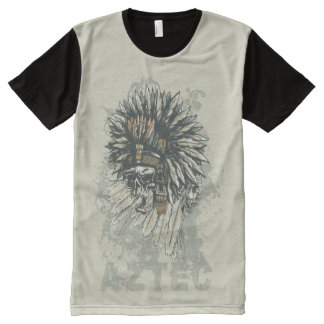 Aztec Skull with Plume | Cool Vintage Gift All-Over-Print T-Shirt