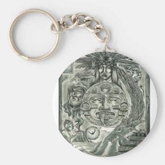 Aztec Spirit Basic Round Button Keychain