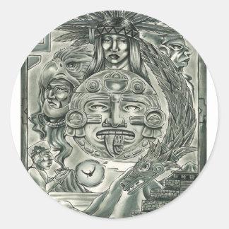 Aztec Spirit Classic Round Sticker