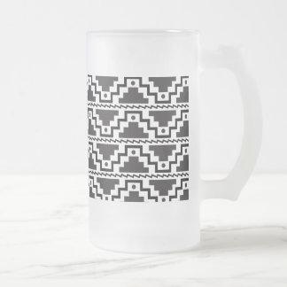 Aztec Step Pyramid Black White Primitive Modern Frosted Glass Beer Mug