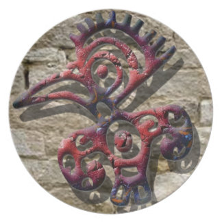 Aztec stone bird symbol plate