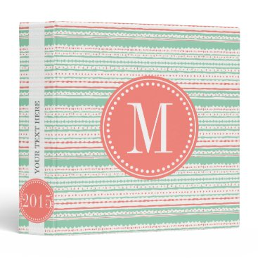 Aztec Themed Aztec Stripes Coral & Mint Personalized Binder