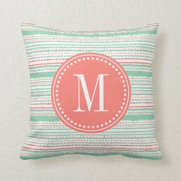 Aztec Themed Aztec Stripes Coral & Mint Personalized Throw Pillow