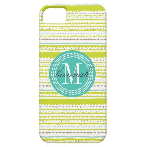 Aztec Stripes Lime & Mint Personalized iPhone 5/5S Case