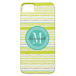 Aztec Stripes Lime & Mint Personalized iPhone SE/5/5s Case