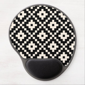 Aztec Style Block Print – Black and Cream Gel Mouse Pad