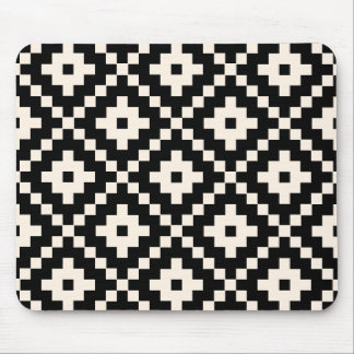 Aztec Style Block Print – Black and Cream Mouse Pad