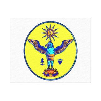 aztec style eagle sun symbols pagan design.png canvas prints