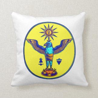 aztec style eagle sun symbols pagan design.png throw pillow