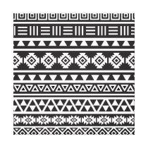 Aztec Style (large) Pattern - Monochrome Canvas Print