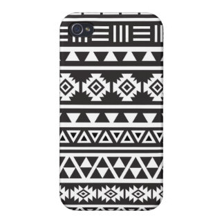 Aztec Style (large) Pattern - Monochrome Cases For iPhone 4