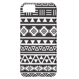 Aztec Style (large) Pattern - Monochrome Cover For iPhone 5C